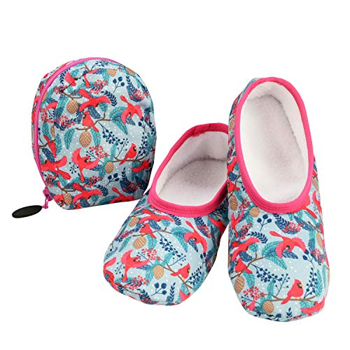 Snoozies Skinnies & Travel Pouch   Purse Slippers for Women   Travel Flats with Pouch   Womens Slippers On The Go   Cardinals   Medium