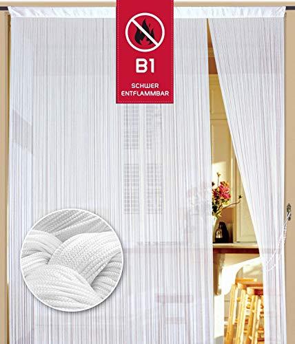 Fadenvorhang 150 cm x 250 cm weiß in B1 schwer entflammbar