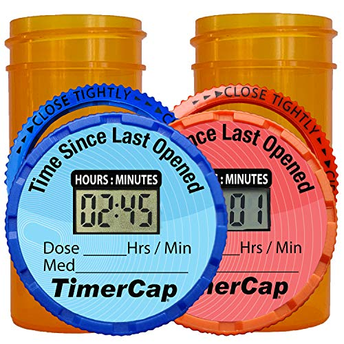 Rx Timer Cap - EZ Twist Digital timer cap (Qty 2) for pill and vitamin bottles with a LCD display