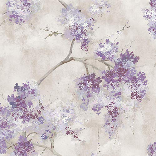 RoomMates Weeping Cherry Tree Blossom Purple Peel and Stick Wallpaper | Removable Wallpaper | Self Adhesive Wallpaper