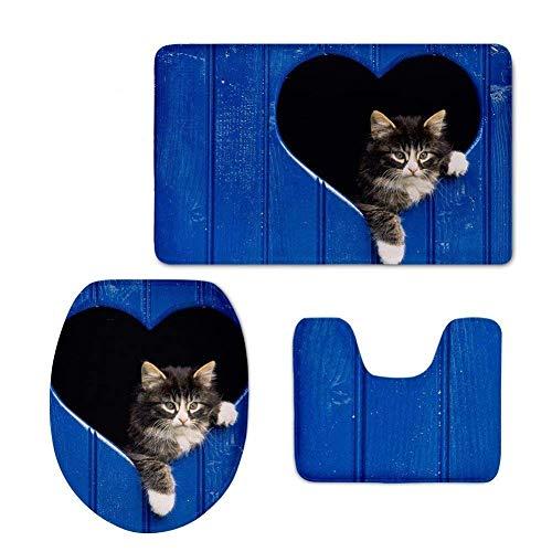 Trista Bauer Trendy Kind Muschi gedruckt 3 Stück Bad Teppich Set rutschfeste saugfähige Badematte Kontur und WC-Abdeckung (blau)