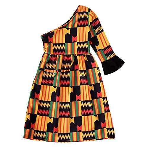 GRNSHTS African Dresses for Baby Girls Toddler Kids Print Long Sleeve Romper Bodysuit Boho Clothes + Hair Band (Yellow Dress,4T)