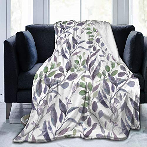 Ultra Soft Micro Fleece Durable Dusty Purple Sage Green Leaves Greenery Throw Blankets Soft Warm Blanket Sheet for Bed Bedding Sofa Office Living Room Home Decor 60'X50'