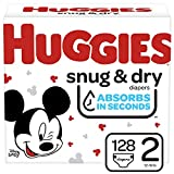 Huggies Snug & Dry Baby Diapers, Size 2, 128 Ct