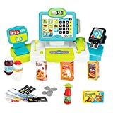 Cash Register for Kids with Scanner, Microphone, Play Money, Pretend Play Learning Educational Toys Gifts for 3 4 5 6 Years Old Boys & Girls