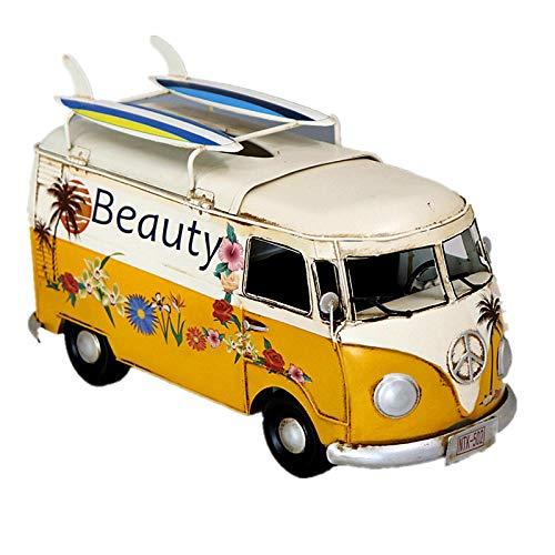 GSDJU Estilo Industrial Creativo Hierro Retro autobús Modelo de Coche Caja de pañuelos Caja de extracción de Papel Caja de pañuelos de Hierro Modelo decoración