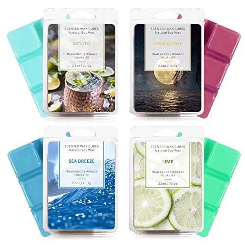 SCENTORINI Duftwachswürfel - Törtchen, 100% Sojawachs Wax Melts für Duftlampe, Limette, Mondschein, Mojito, Meeresbrise, 70,9g x 4 Stück