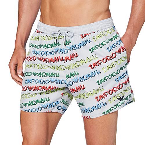 Emporio Armani Swimwear Herren Boxer Beachwear POP Logo Badehose, Mehrfarbig (Nuvola 02730), X-Large (Herstellergröße: 54)