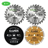 Saw Blade Set, GALAX PRO Pack Of 4 Assorted 60T HSS Metal/24T TCT Wood/Diamond 4-1/2-Inch Circular Saw Blade with 3/8' Arbor for Fast Cutting…