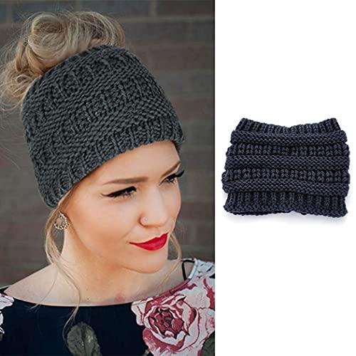 Zoestar Diadema de punto de invierno, calentador de orejas, de ganchillo, trenzado, para coleta, gorro de lana para el aire libre, banda de pelo para mujeres y niñas (gris oscuro)