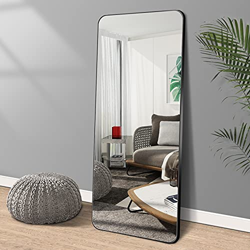 """LAIYA 65""""24"""" Aluminum Floor Full Length Mirror Body Standing Large Tall Mirror Leaning Dressing Rounded Corner Rimless Big Long Stand Up Mirror for Bedroom 5MM Silver Mirror (Black)"""