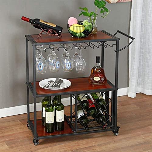 DOUNAYEE Barwagen beweglich mit Weinregal/Glashalter Bar Servierwagen Tisch Küche Wein Lagerung Wein, Servierwagen mit abschließbaren Rädern für Küche, Bar, Zuhause