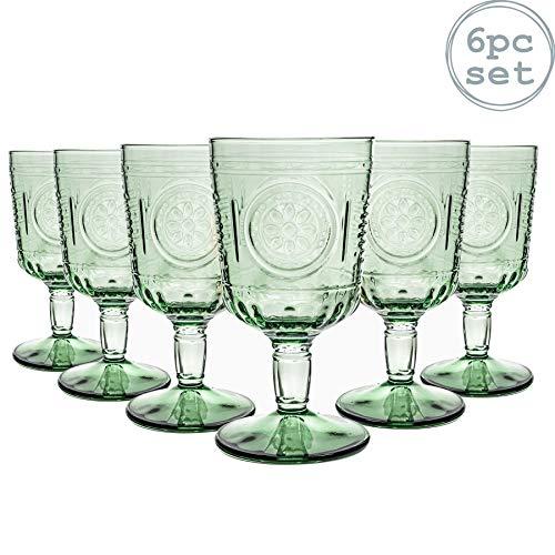 Bormioli Rocco Romantic - Juego de Copas para Vino - Diseño Italiano Tradicional - Verde - 320ml - Pack de 6