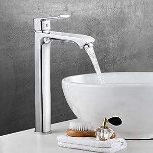 Amzdeal Grifos de lavabo, Griferia de baño alta, Grifos monomando de baño con suave aireador, Grifos en latón con…