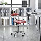 Flash Furniture Silla de escritorio giratoria con asiento mecánico, color Rojo...