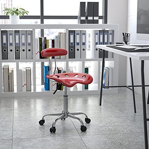 Flash Furniture Silla de escritorio giratoria con asiento mecánico, color Rojo Vino y Cromado adecuados