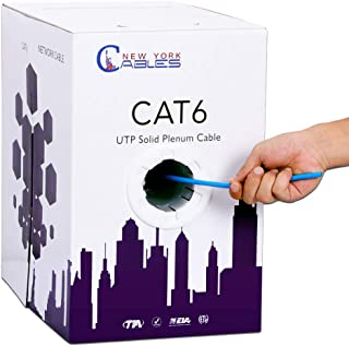 CAT6 Plenum (CMP) 1000ft Ethernet Cable | Fluke Tested | 550MHz, 23AWG, UTP | Guaranteed Extreme Performance & Bandwidth | Blue, White, Black, Green, Yellow & Red - Blue