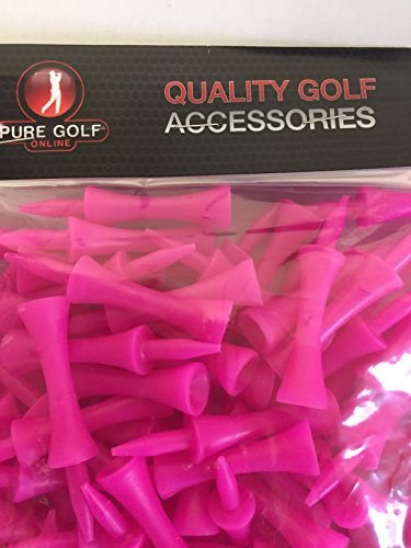 Pure Golf Online Pack of 100 British Made Pink Castle Shoulder Tees 60mm for 40mm Teeing Up Height