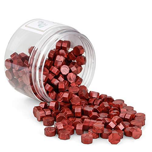 Gobesty Siegellack Perlen, 200 Stück Achteckige Siegelwachsperlen Siegelwachs Perlen, Siegelwachs Rot Stempelwachs für Versiegelung & Dekoration von Briefen (Weinrot)