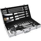 TecTake Kit Accessoires et Couverts Gril-Barbecue BBQ en Acier Inoxydable avec Mallette Argenté - diverses tailles au choix - (18 pièces)