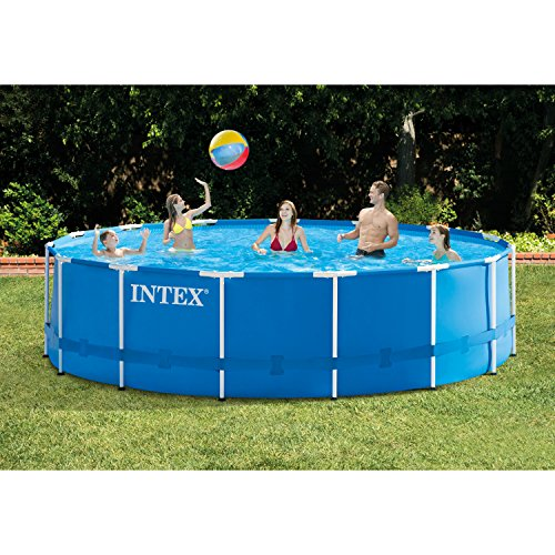 Intex 28241EH 15ft x 48in Metal Frame Outdoor Above Ground Swimming Pool Set with Filter Pump, Ladder, Ground Cloth and Pool Cover