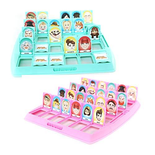 Amasawa Quién es Divertido Juego de Mesa,Adecuado para el Clásico Juego de Mesa Funny Family Guessing Games Kids Children Toy Gift (Rosa y Verde)