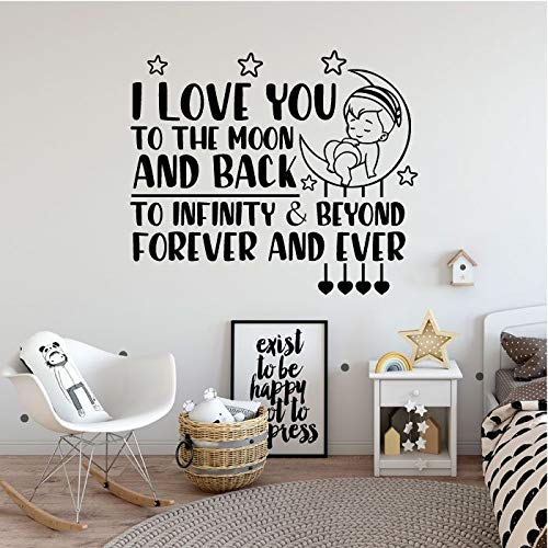 I Love You To The Moon And Back To Infinity And Beyond Forever And Ever - Cute Sleeping Baby Vinyl Wall Art Wall Decal Wall Sticker For Home Design Nursery Bedroom Office Décoration Size (20x20 inch)