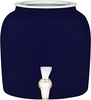 Solid Blue Porcelain Ceramic Water Dispenser Crock with Faucet - LEAD FREE