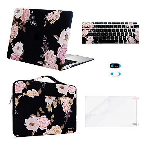 MOSISO MacBook Air 13 inch Case 2020 2019 2018 Release A2337 M1 A2179 A1932, Plastic Peony Hard Shell&Bag&Keyboard Cover&Webcam Cover&Screen Protector Compatible with MacBook Air 13 inch Retina, Black