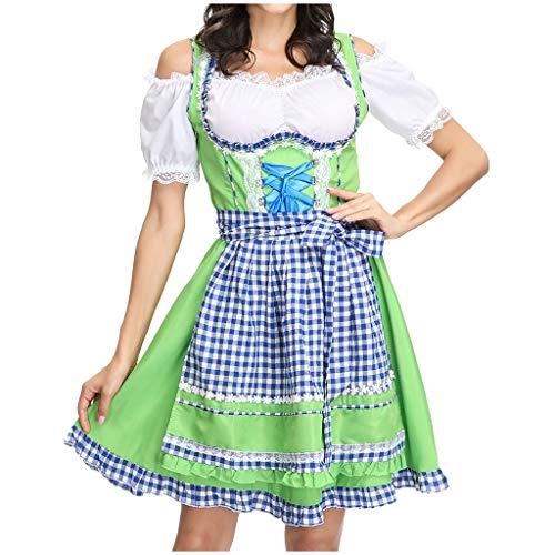 Damen Dirndl PPangUDing Mädchen Kleid Oktoberfest Schürze Maid Traditionelle Karneval BayerischeKellner Cosplay Kostüm Bayern Bier Abendkleid Retro Halloween Cocktailkleid (M, Grün)