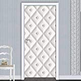 Pegatinas de puerta 3D Pegatina autoadhesiva para puerta, bolsa suave blanca estéreo, papel tapiz artístico para Mural, sala de estar, dormitorio, decoración, cartel de pegatina impermeable90x200cm