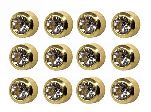 Ear Piercing Bezel Earrings Studs 4mm April C/Z Gold Plated 144 Pair