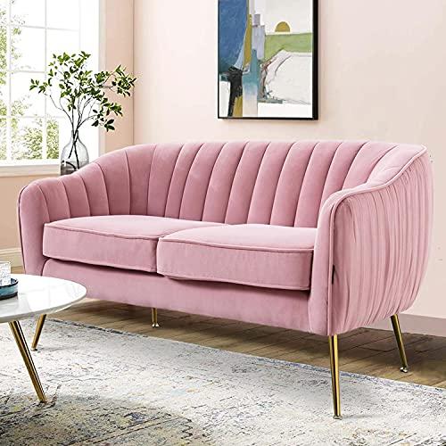 Altrobene Contemporary Loveseat Sofa, Velvet Sofa Chair Couch for Living Room Bedroom, Golden Tone Metal Legs, Blush Pink