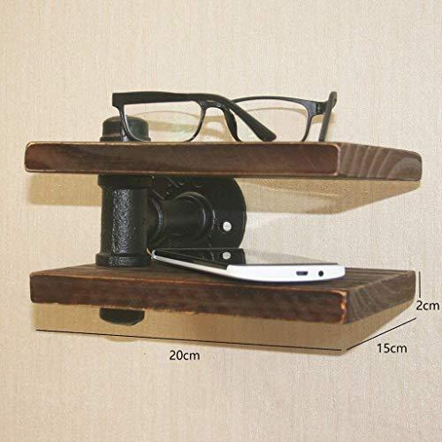 Plank wandrek Toliet wandrek wandrek garderobe retro wandrek ijzer met houten rand inrichting telefoonklok bloem display voor kleine voorwerpen (kleur: D) Een
