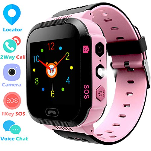 Kids Smart Watch GPS Tracker Phone Watch for Boys Girls - Touchscreen Camera 2 Way Call Voice Chat SOS Alarm Clock Anti Lost Flashlight Game Sports Outdoor Smartwatch Bracelet Cellphone Wrist Watch