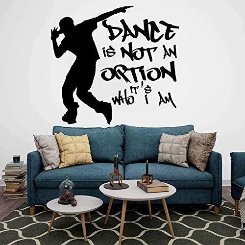 Moderno Street Dance Hip Hop Etiqueta de la pared Habitación de niño Nursery Break Dance Cita inspiradora Etiqueta de la pared Dormitorio Vinilo Decoración 52x56cm