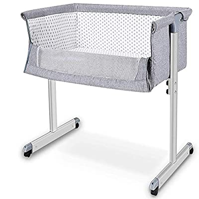Baby Bassinet, Baby Bedside Sleeper, Newborn Baby Crib, w/Detachable & Washable Mattress, Easy Folding Movable Cradle for Newborn Infants, Bed Height Adjustable, Breathable Mesh (Dark Gray)