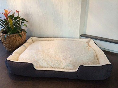 Lemio - hoogwaardig hondenbed B-Lite - hondenmand hondenkussen zacht - knuffelig - robuust - wasmachinebestendig, S; 60x40x16cm, grijs-beige