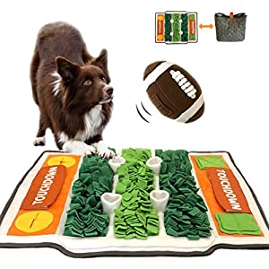 GAXCO Snuffle Mat for Dogs, Pet Slow Feeding Mat for Dogs, American Football Theme with a Snuffle Ball, Interactive Feeding Games Puzzle Toys Encourages Natural Foraging Skills