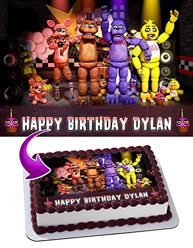 FNAF Five Nights at Freddy's Edible Image Cake Topper Party Personalized 1/4 Sheet