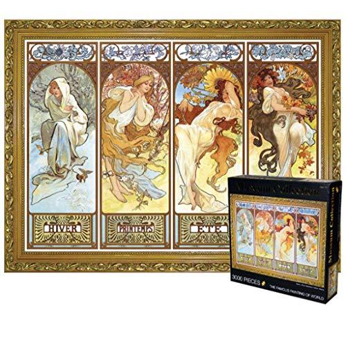 Klassieke Puzzel, Four Seasons door Alphonse Maria Mucha 3000 stukjes puzzel voor volwassenen Kinderen Stevig en gemakkelijk