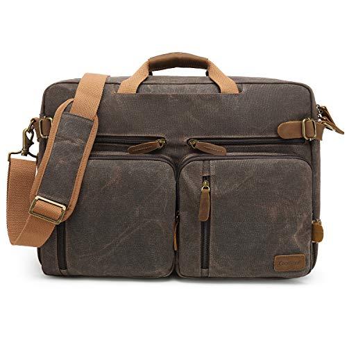 CoolBELL Herren Messenger Bag Umhängetasche Aktentasche umwandelbar Reiserucksack Laptoptasche 17,3 Zoll Multifunctional Schultertasche/Handtasche für Männer, wasserdicht Wachsöl Canvas Braun