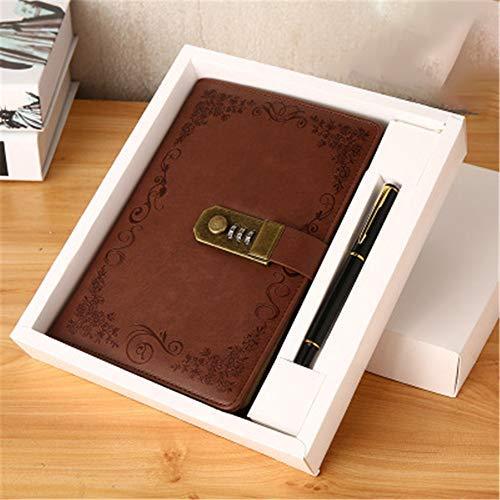 Journal intime avec mot de passe vintage en cuir synthétique avec cadenas à combinaison - 100 pages - Marron
