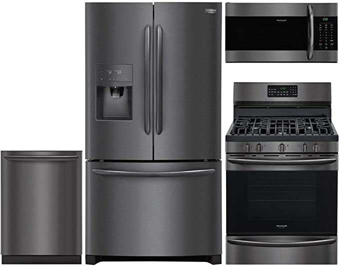 Amazon Com Frigidaire 4 Piece Kitchen Appliance Package With Fghd2368td 36 French Door Refrigerator Fggf3059td 30 Gas Range Fgmv176ntd 30 Over The Range Microwave And Fgid2466qd 24 Built In Dishwasher In Black Stainless