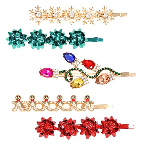 5PCS Christmas Hair Clips for Women Xmas Gift Bow Hair Clip Holiday Snowflake Snowman Hairpins Festive Hair Barrettes Costume Hair Accessory Gifts (Style A)