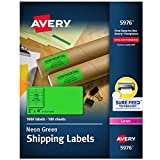 Avery 2'x 4' Neon Shipping Labels with Sure Feed for Laser Printers, 1,000 Green Neon Stickers (5976)