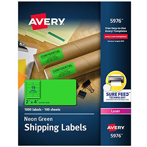 Avery Etiquetas neon de 5 x 10 cm com alimentação segura para impressoras a laser, 1.000 adesivos neon verdes (5976)