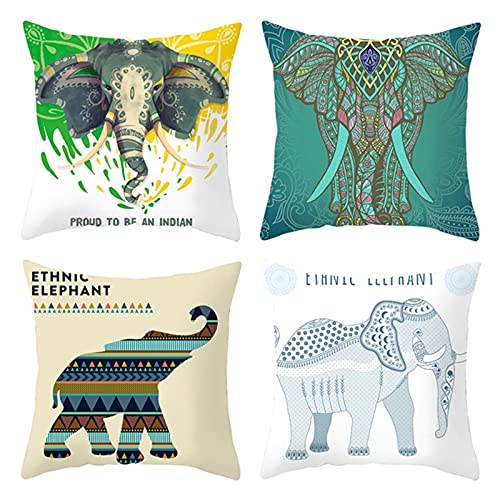 Beydodo Fundas de Almohada,Cojines para Pack 4 Funda,Elefante Patrón de Mandala,Cojines Exterior 50x50 Cojines Fundas Blanco Beige Verde