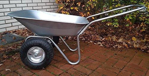 Carriola da giardino a 2 ruote, zincata, 130 kg/70 l