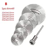 Disc Drill Blades and Mandrel (6pcs Set),HSS Saw Disc Wheel Cutting Blades for Drills Rotary Tools +...